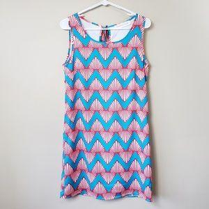Peach Love Cream Zig Zag Print Dress